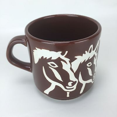 Horse Equestrian Coffee Tea Cup Mug Spain Brown Ceramic