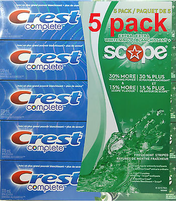 5x170ml.=1,3kg/48oz Crest Complete Scope ToothPaste, BIGgest size Made in CANADA