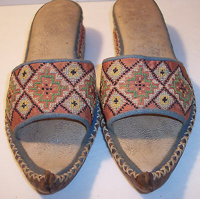 antique handmade middle eastern persian tibet india curled toe shoes womens