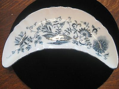 Vintage Blue Onion Bone Dish Serving Crescent Shape