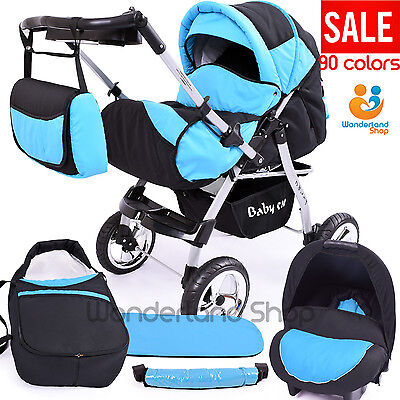 Superb  Pram 3in1 Car Seat Included Pushchair Buggy Stroller MANY COLS. FREEBIES