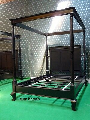 BESPOKE King Size 5' Gothic Black four poster canopy bed made from oak wood