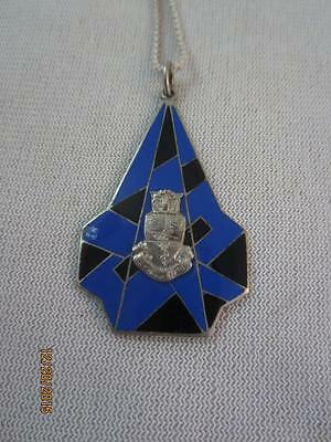 Art Deco/ Egyptian Revival Sterling & Enamel Pendant W/ Crest W/ Ankh Eye Of Ra+