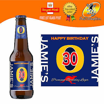 PERSONALISED BEER BROWN Ale Bottle Label Birthday Any
