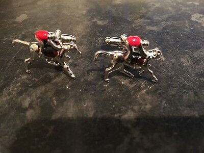 sterling silver horse racing cufflinks handmade stunning with red body/saddle