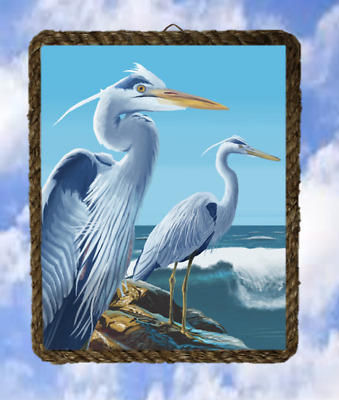 Tropical Bird 36 Blue Heron Wall Decor Art Prints Plaques lalarry Ventage framed