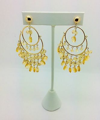 14k Yellow Gold Chandelier Style Earrings With Citrin Beads And Drops ER202/203