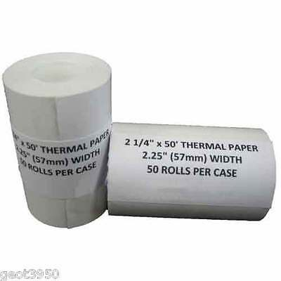 "Credit Card 2 1/4"" x 50' Thermal Paper Rolls FD400 Nurit 8000 100 Rolls = 2 case"