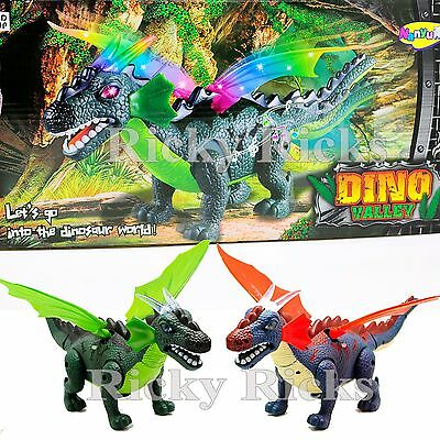 Walking Dinosaur Jurassic Kids Light Up Wings Toy Figure Sound Real Movement LED