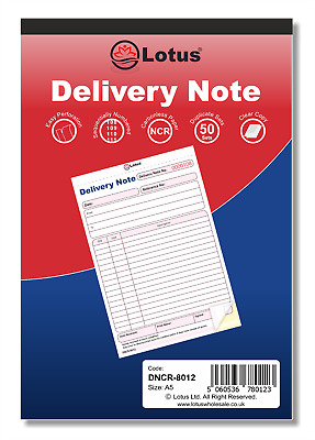 NCR 137 x 203mm Delivery Note Duplicate Book Pad 50 Sets Carbonless Pukka Pad