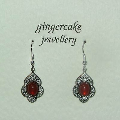 Persian Art Style Carnelian Red Glass Dark Silver Plated Earrings V114
