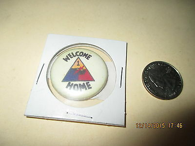 Original Wwii   Welcome Home Us Army 1 St Armored   Division  Button
