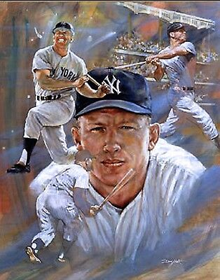"""MICKEY MANTLE Lithograph - YANKEES """"Free Shipping"""""""