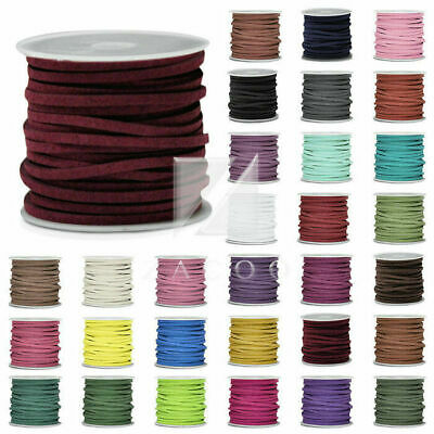5m Roll 30m Mixed Faux Suede Cord Wire Thread String Jewellery Making 3mmx1.5mm