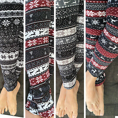 Fur Lined Print Leggings Warm Winter Fleece Stretch Pants