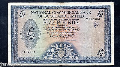 ~ National Bank of Scotland  £5 Banknote - P272a (1960's) ~