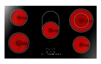 Cookology 90cm Ceramic Hob CET900 | Black Glass Electric Cooktop, Touch Controls