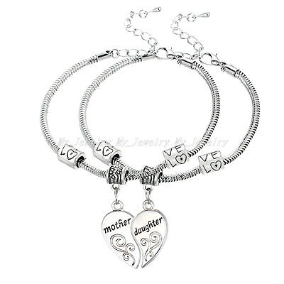 2PC/Set Flower Mother and Daughter Love Heart Bangle Bracelet Charm Jewelry Gift