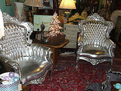 Pair Vintage Retro Style Large Silver Sofa Throne Chair Modern Faux Leather