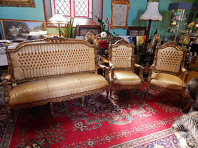 Antique/Vintage Sofa Suite Chairs Immaculate Solid Hardwood Frame French Country