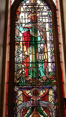 "Stained Glass Huge Jesus Christ Window Salvage Gothic  H 278cm W 92cm; 9'2"" * 3'"