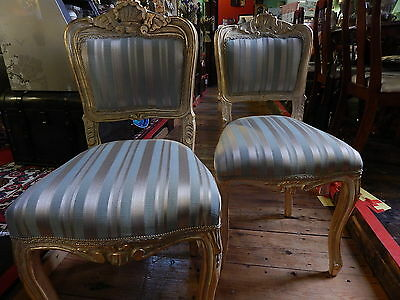 Pair Solid Wood Armchair/Chair Duck Egg French Country Damask Shabby Chic New