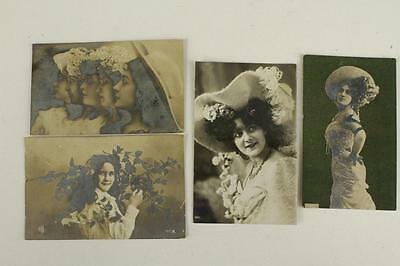 Vintage Postcard Lot 4PC Real Photo RPPC Glamour Ladies Hats Early 1900