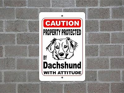 Property protected by Dachshund dog breed with attitude metal sign #C