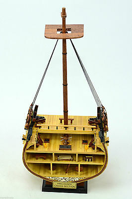 HMS ESSEX Cross Section - Handcrafted Wooden Model Ship NEW