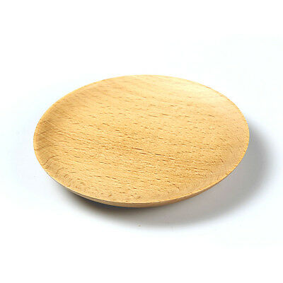"""5"""" Natual Wood Tray Small Round Cake Sushi Snack Dessert Fruit Tray Plate"""