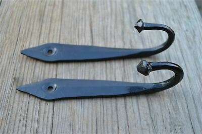 Pair Of 6 Inch Black Iron Ancient English Design Coat Hooks Door Hanger Hook Ob3