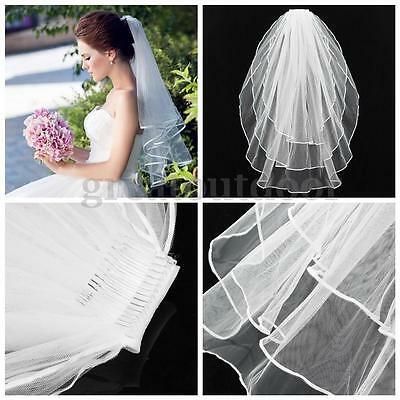 3 T Wedding Bridal Elbow Short Length Cathedral Satin Lace Edge Veil With Comb