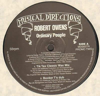 ROBERT OWENS - Ordinary People (Promo Two) - Musical Directions