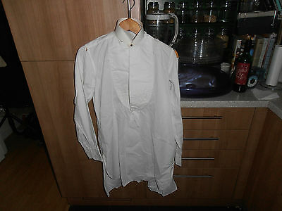 "Vtg S Harman & Co Plain Fronted Collarless Dress Shirt sz 14"" Cw Collar"