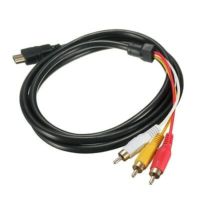 NEW 5 Feet 1080P HDTV HDMI Male to 3 RCA Audio Video AV Cable Cord Adapter LD