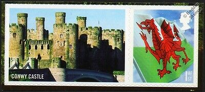 CONWY CASTLE (Castell Conwy) Wales Flag Smiler Stamp (Castles of Wales)