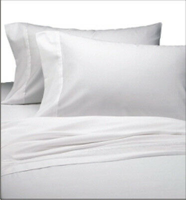 6 New White Full Flat Sheet Percale Linen Sheets Sale Deal Cotton Rich T180