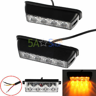 2x 4 LED Amber Strobe Flashing Recovery Car Truck Bright Lights Breakdown Lamps
