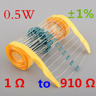 New!! 1/2W Watt 0.5W Metal Film Resistor ±1% 1 Ω to 910 Ω Ohm