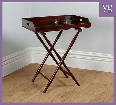 Antique Victorian Mahogany Butlers Drinks Serving Tray Table & Stand (c.1850)