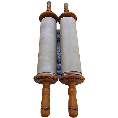 Beautiful Seffer Torah Scroll Hebrew Jewish Bible 32 CM + Pointer (YAD)