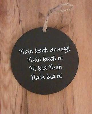 10cm Welsh Slate disc hanging plaque Mam Bach annwyl Ni Mother/'s Day Sul y Mamau