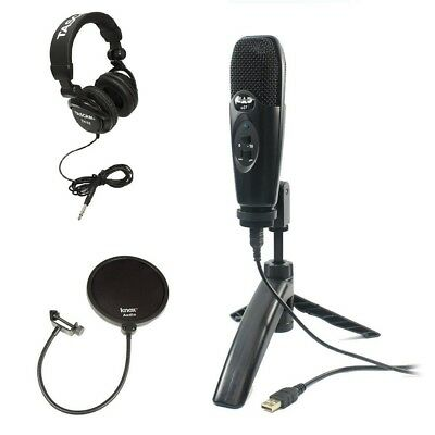 Cad U37 Black USB Condenser Microphone with Headphones and Pop Filter