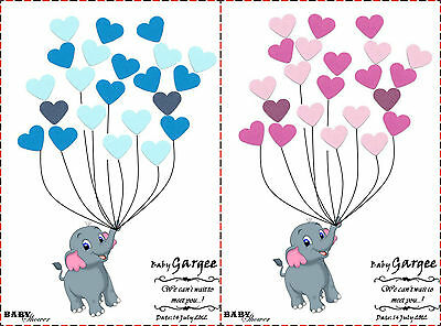 PERSONALISED Baby Shower Game/Alternative Traditional Guestbook ELEPHANT BoyGirl