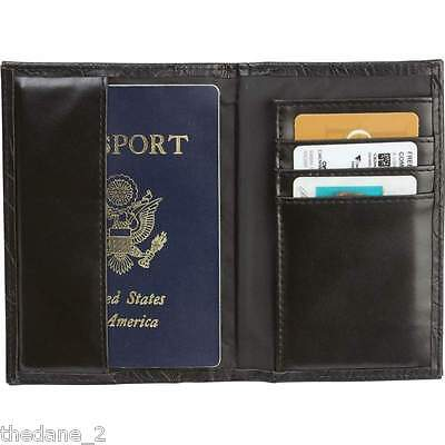 Casual Outfitters™ Solid Genuine Black Tooled Leather Passport Cover New in Box