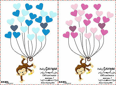 PERSONALISED Baby Shower Game Alternative traditional Guestbook MONKEY Girl Boy