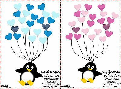 PERSONALISED Baby Shower Game Alternative Traditional Guestbook PENGUIN Girl,Boy