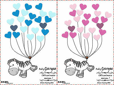 PERSONALISED Baby Shower Game Alternative to Traditional Guestbook ZEBRA GirlBoy