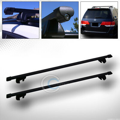 """49"""" Blk Square Type Roof Rail Rack Cross Bar Cargo Luggage Carrier Kit+Clamps C7"""