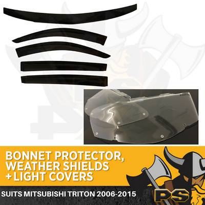 Mitsubishi Triton 2006-2015 ML MN Bonnet Protector, Weather Shields & Light Cove